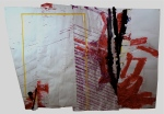 Paper, masking tape, paint, plastic, graphite, colored pencil. 7x11ft. 2011