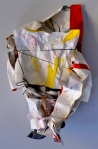 Canvas, White and Black Gesso and Tempera Paint, Leather, Shredded Paper, Plastic Bodega Bag, Paper. 2011