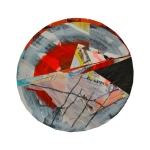 Red Sky In Morning. 12in diameter. Paper, Paint, Plastic, Graphite, Tape. 2011