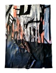 Composition 6. 5 x 8 ft. Paint, Pinon Charcoal, Plastic, Graphite, Ink, Suede Cord on Paper. 2012.