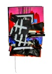 Composition 1. 2012. Paint, Colored Pencil, Marker, Vinyl Banner, Suede Cord, Paper. 32 x 21 x 3.