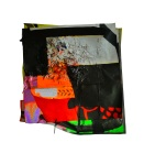Composition 2. 2012. Paint, Vinyl Banner, Marker, Colored Pencil, Suede Cord, Handmade Paper, Paper. 21 x 21 x 3