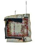 Composition 3. 2012. Paint, Vinyl Banner, Handmade Paper, Suede Cord, Selvedge Denim, Steel, Fine Glass Glitter. 23 x 23 x2.