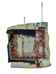 Composition 3. 2012. Paint, Vinyl Banner, Handmade Paper, Suede Cord, Selvedge Denim, Steel, Fine Glass Glitter. 23 x 23 x2.