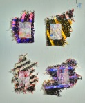Composition 8. 2012. Four works ( dimensions variable) Paint on Handmade Paper, Ball Point Pen, Metal, Swarovski Crystals, Glass.