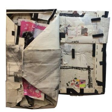 DEPARTURE 11 (BERLIN) Paper, Wood, Marker, Collage. 48 x 45 x 6in. 1998-2016